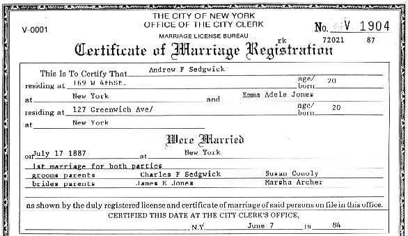 New york city wedding license tbrbfo sedgwick org andrew f 1867 1891 yadclub Gallery